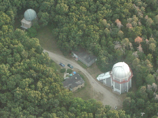 Aerial view of the Portage Lake observatory site.