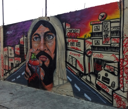 "RELIGION & PUBLIC SPACE. ""Tagger Jesus"" – a meta-graffiti mural in Moctezuma (Roberts)"