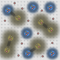 Schematic of electrons, excitons, and trions in a doped semiconductor