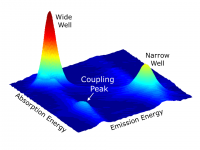 "Experimental results of the Cundiff group's ""real-world"" coupling experiment. This 2D spectrum shows a coupling peak due to the interactions of many particles in adjacent quantum wells. Credit: Gaël Nardin (Cundiff group), JILA"