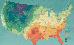map of United States color coded showing stable isotopes