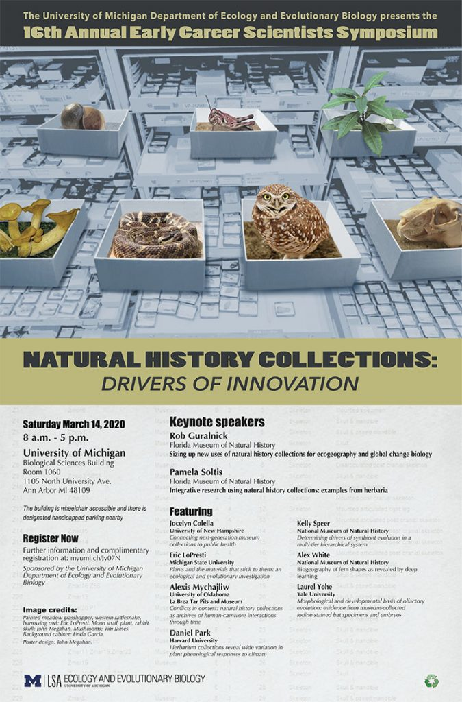 Early Career Scientists Symposium poster with images across top of collection drawers in background of a moon snail, painted meadow grasshopper, western rattlesnake, burrowing owl, plant, rabbit skull, mushrooms in boxes on top of drawers.
