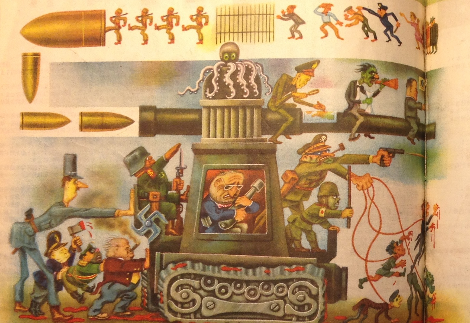 1950 10 cartoons of American imperialism, death, and Fascism