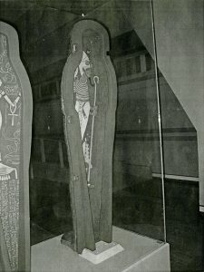photograph of mummy coffin on display