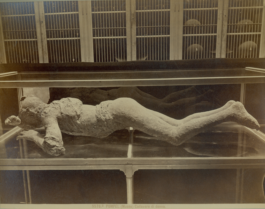 Plaster cast of victim of Vesuvius.