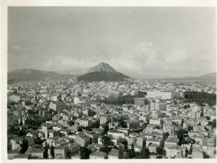 photograph of Athens with Mount Lycabettus in distance