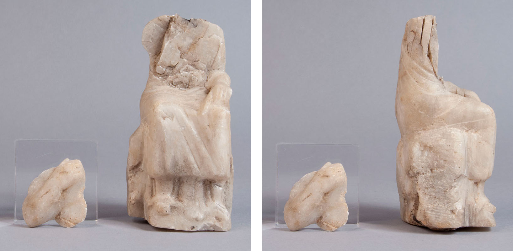 Seated figurine carved from alabaster