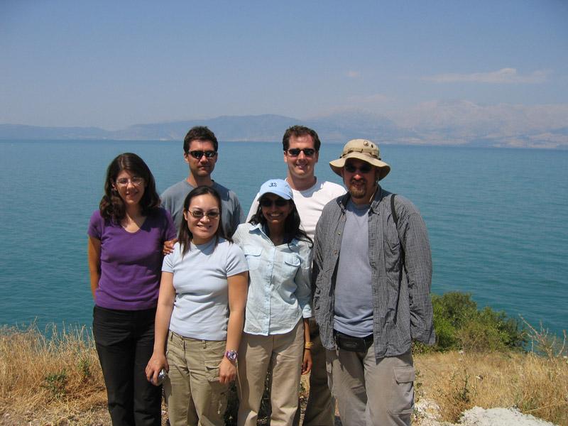 group of tourists at a vista