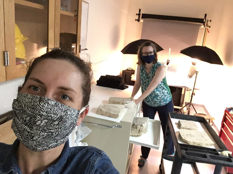 selfie of two women wearing masks