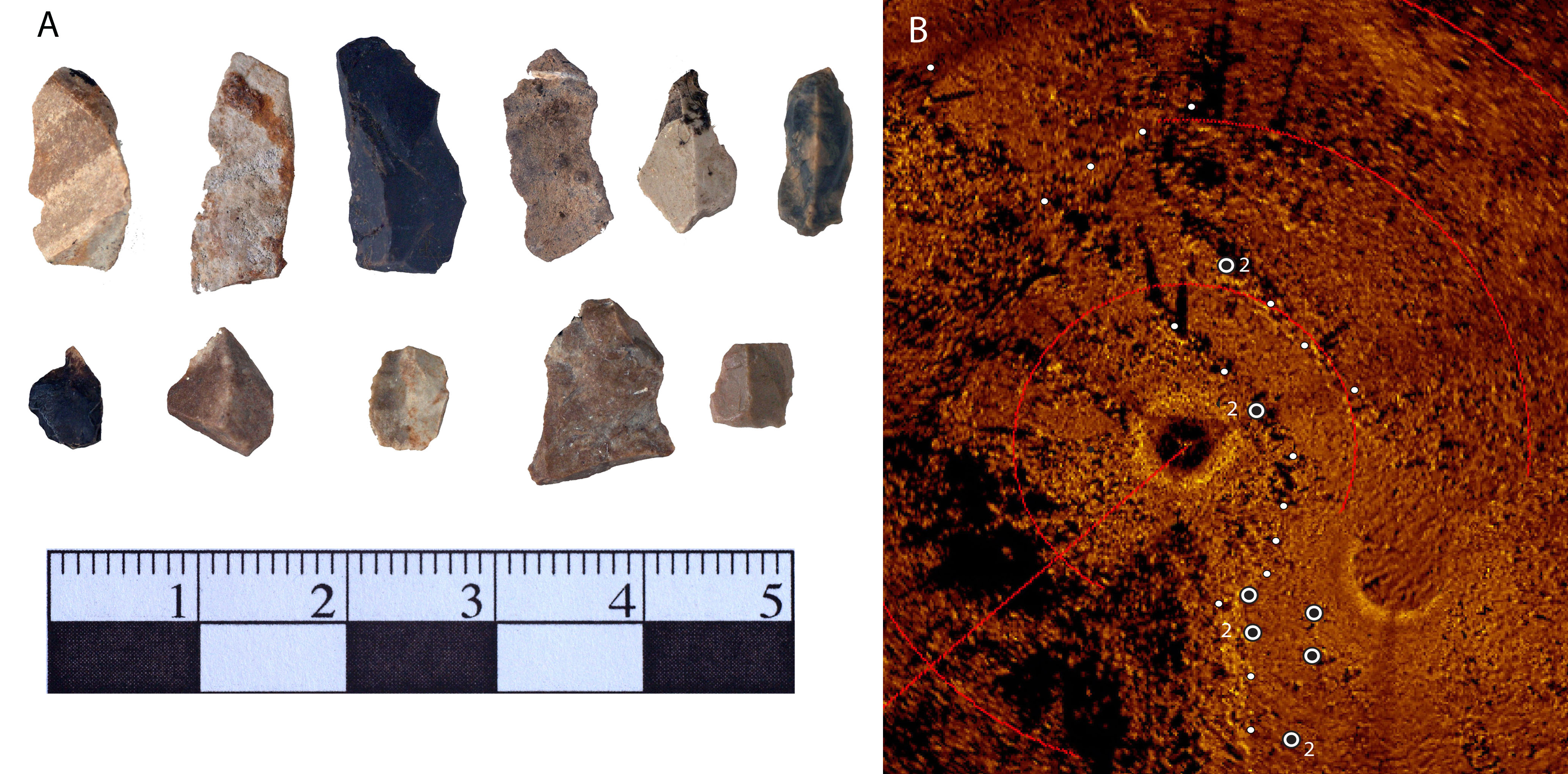 stone tool waste and drop 45 sonar