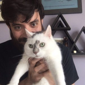 poet with his cat