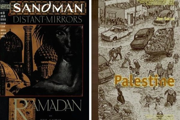 Cover of Sandman 50 and Palestine graphic novels
