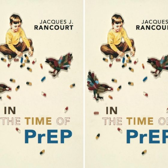 in the time of prep by jacques j. rancourt four image collage with a kid playing with pills next to two birds
