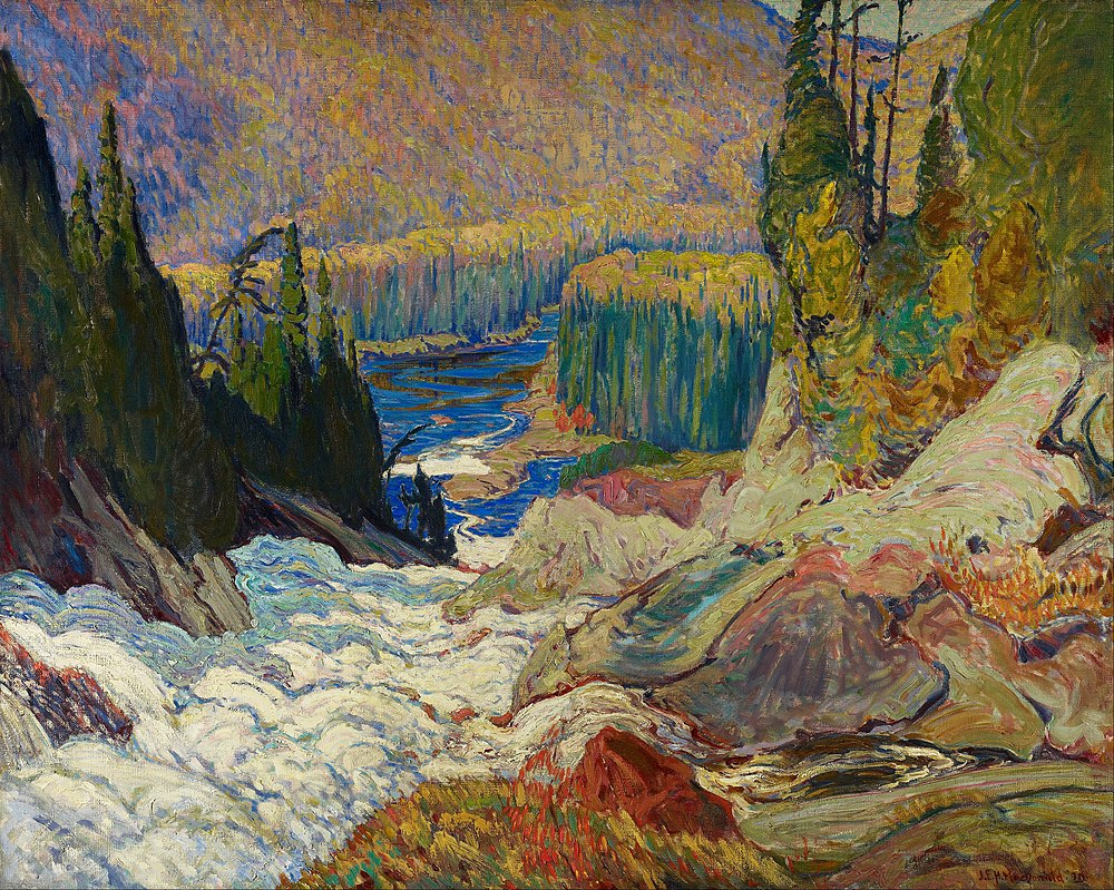 Montreal River by J.E.H. MacDonald Falls, colorful painting of the valley with rocks and trees and hills