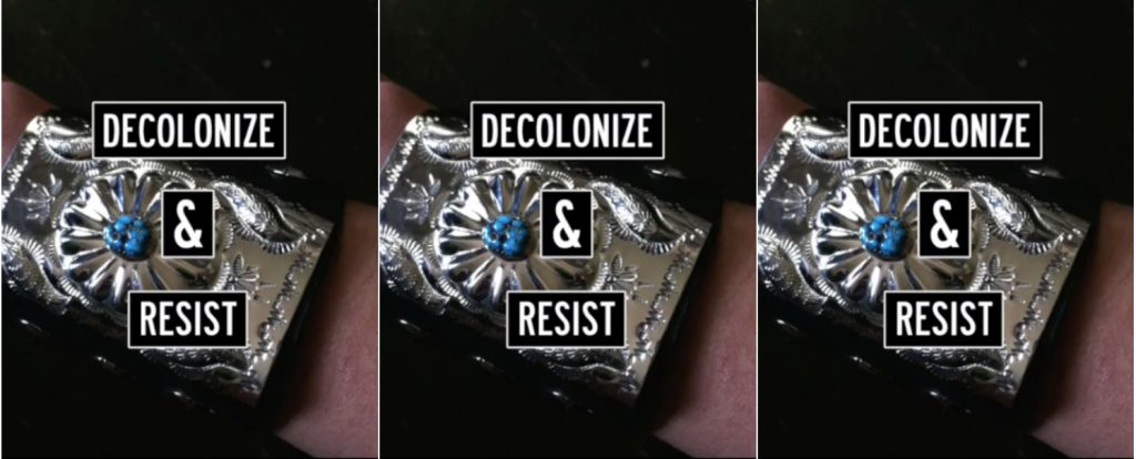 decolonize and resist collage, close up of a bracelet on an arm