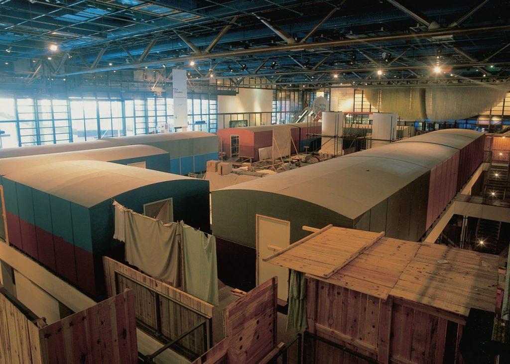 installation of the georges pompidou centre in paris