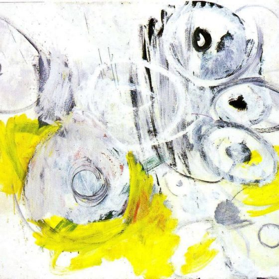 White Spring 1963 by Ernst Wilhelm Nay painting, abstract with yellow and white circles