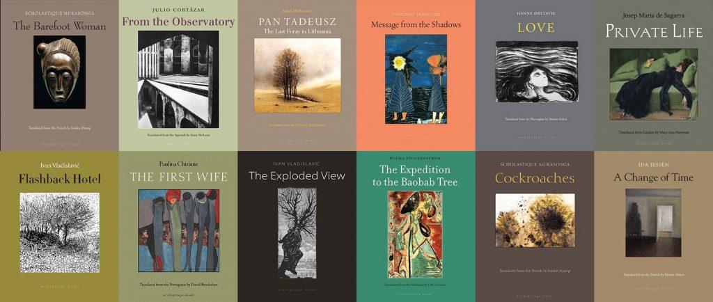 Twelve Archipelago Books lined up 6 x 2