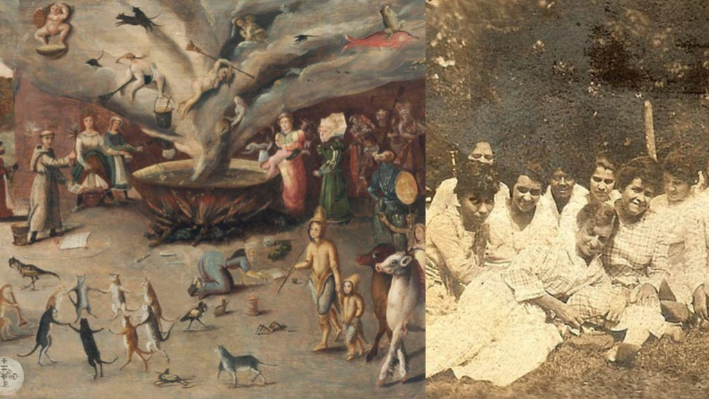 Painting of animals dancing and emerging from a bowl next to old-looking portrait of seven people.