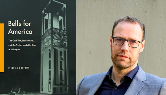 "Collage of two images: an author photo of a man in a grey suite from the shoulders up and a cover image from ""Bells for America"" which is a Carillon against a black background"