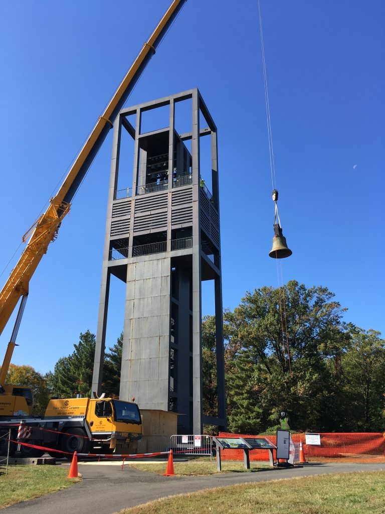 A bell being removed from the Carillon by crane.