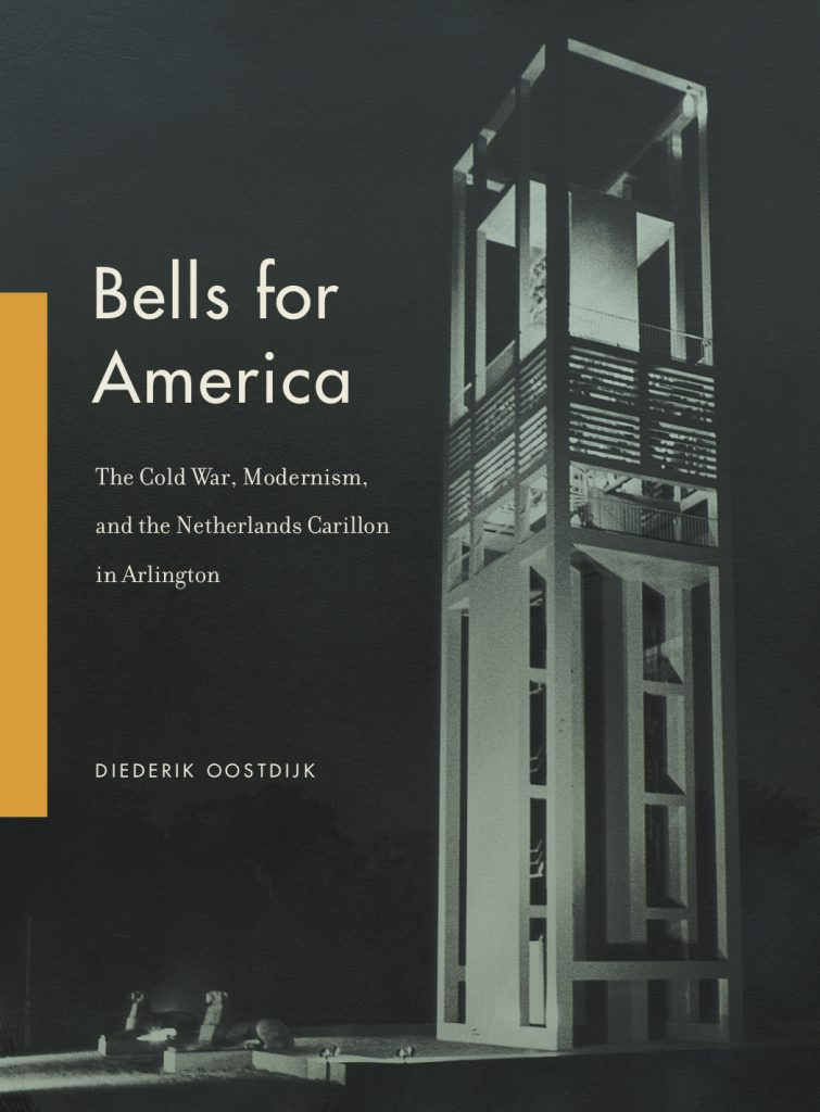 The cover of the book Bells for America. The Netherlands Carillion against a dark background.