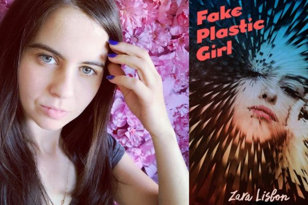 Selfie of Zara Lisbon nex to the cover of her book, Fake Plastic Girl.