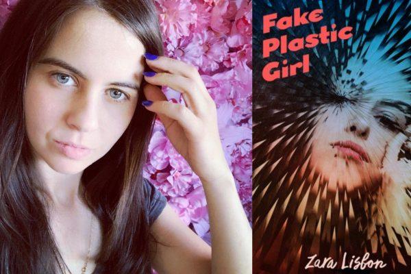 Selfie of Zara Lisbon nex to the cover of her book, Fake Plastic Girl.