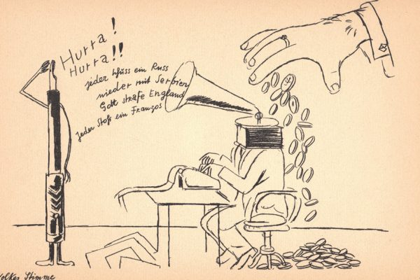 Cartoon of a man typing on a typewriter with a megaphone in place of a head speaking to a fountain pen. A large hand drops coins on top of the man at the typewriter.