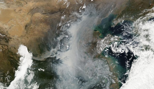 Smog event in a satellite image of China