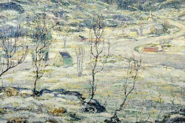 A view of a field in winter. Mountains in the distance, small leafless trees. Done in blue and grey.