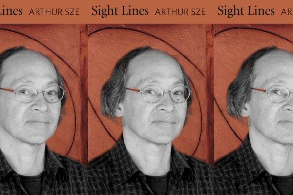 "Arthur Sze from the chest up. His face is serious. Behind him is the cover of his book ""Sight Lines"" with a red tint."