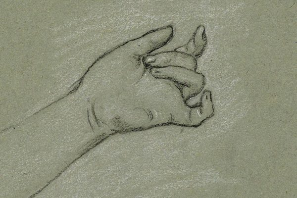 Grey drawing of a left hand, palm up