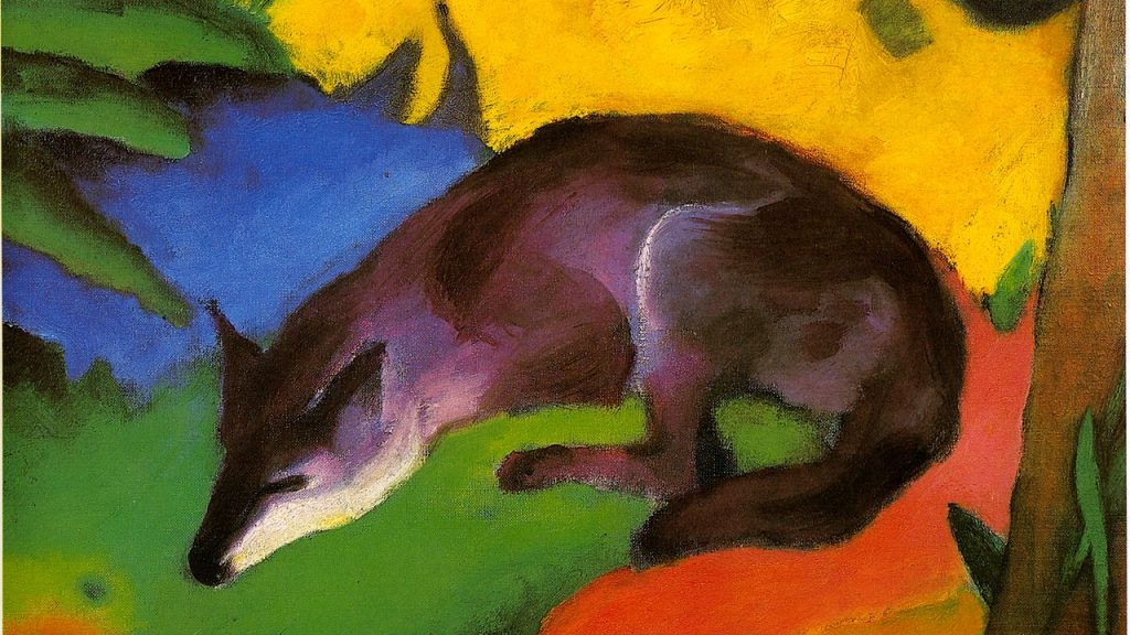 AZ painting of a blue fox on a multicolored field. The fox is sleeping.