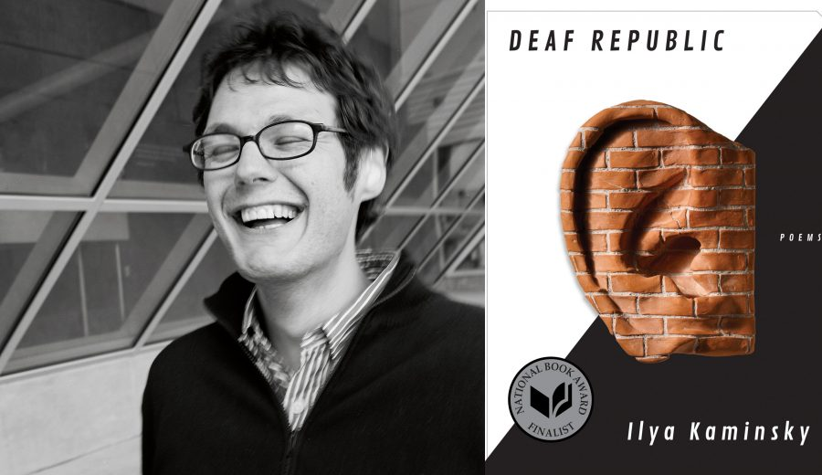 Ilya Kamisky, laughing in front of windows. The cover of Deaf Republic--an ear made of bricks in front of a black and white background.