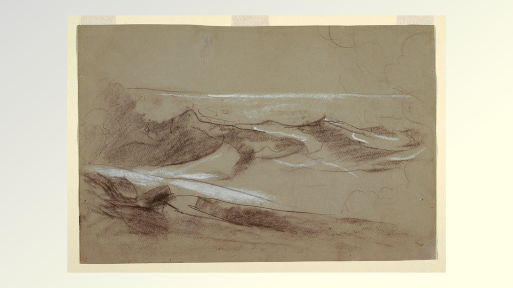Sketch of the ocean, with white highlights at lower left, possibly indicating a rocky shore.