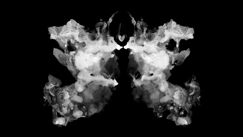 Rorschach test ink blot illustration. Psychological test. Silhouette of black butterfly isolated.