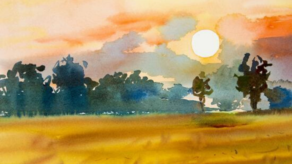 watercolor warm-toned landscape, yellow grass with green trees, bright sun with orange-tinted sky