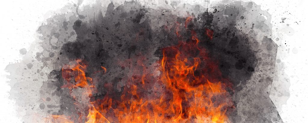 Watercolor fire on white background