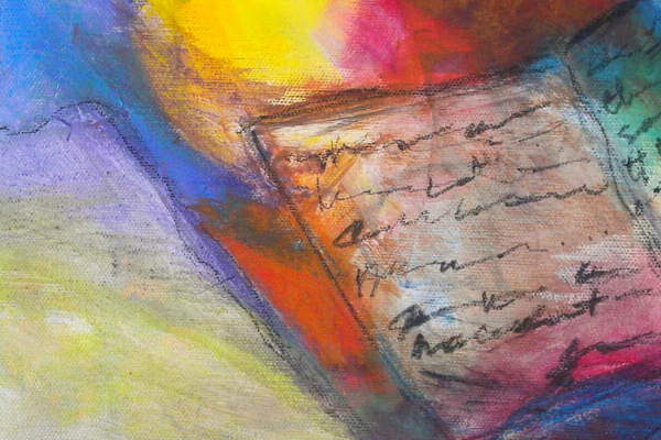rainbow oil painting of book with scribblings