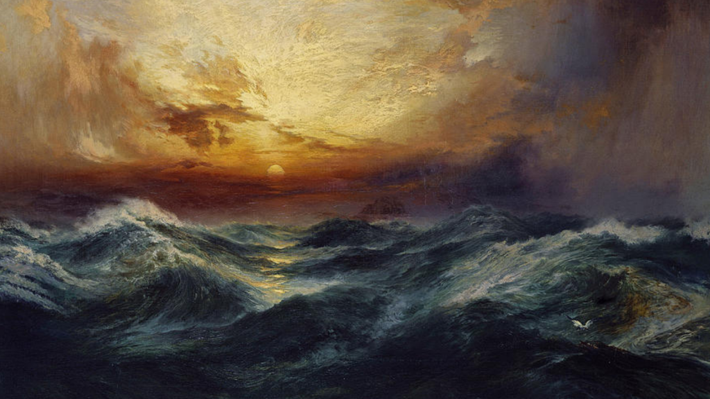 oil painting of dense ocean water and a orange yellow sunset