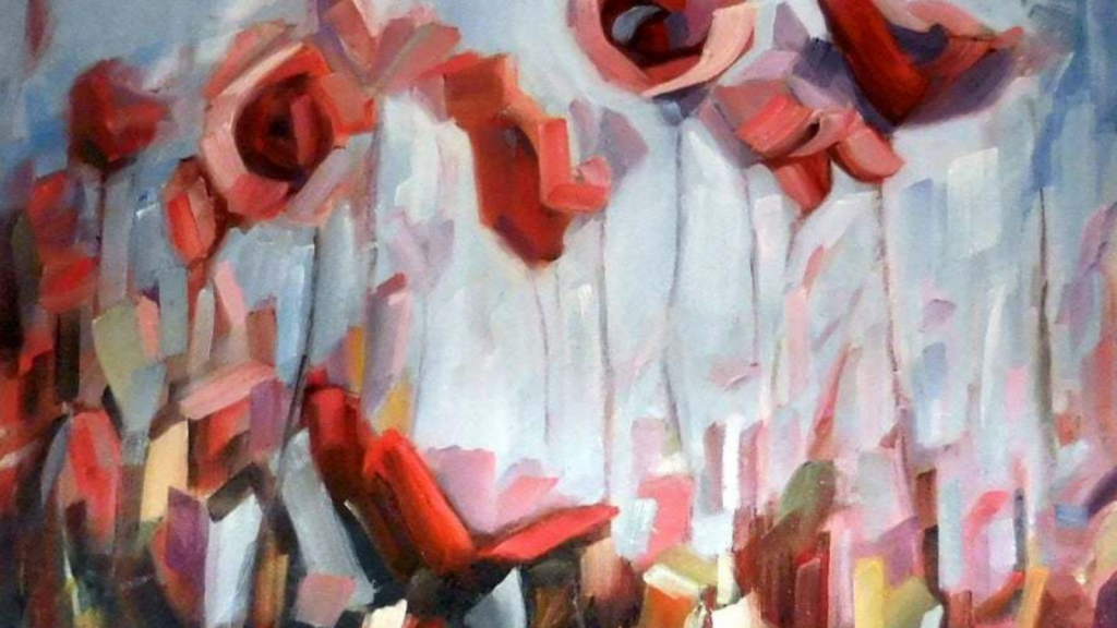 Water color painting of blurred red roses