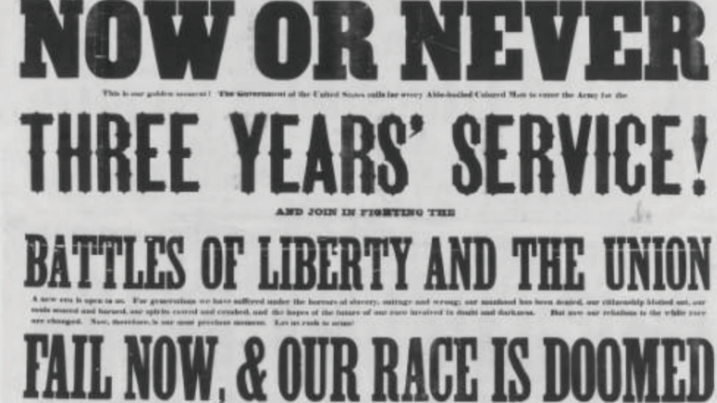 """News Headline Stating """"Now or Never, Three Years' Service, Battles of Liberty and The Union, Fail Now & Our Race Is Doomed"""""""