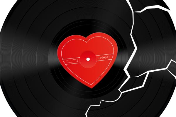 Vinyl with Heart Stock Image