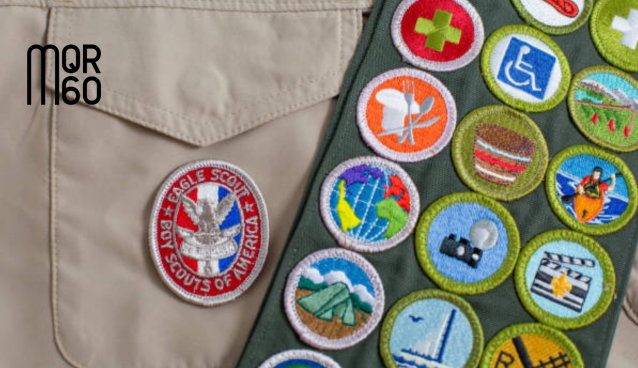 Stock Image of Boy Scout of America Badges with MQR60 Logo