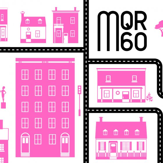 """Stock Image of Roads and Buildings for """"Celebrating Writers in Our Community"""" in Pink"""