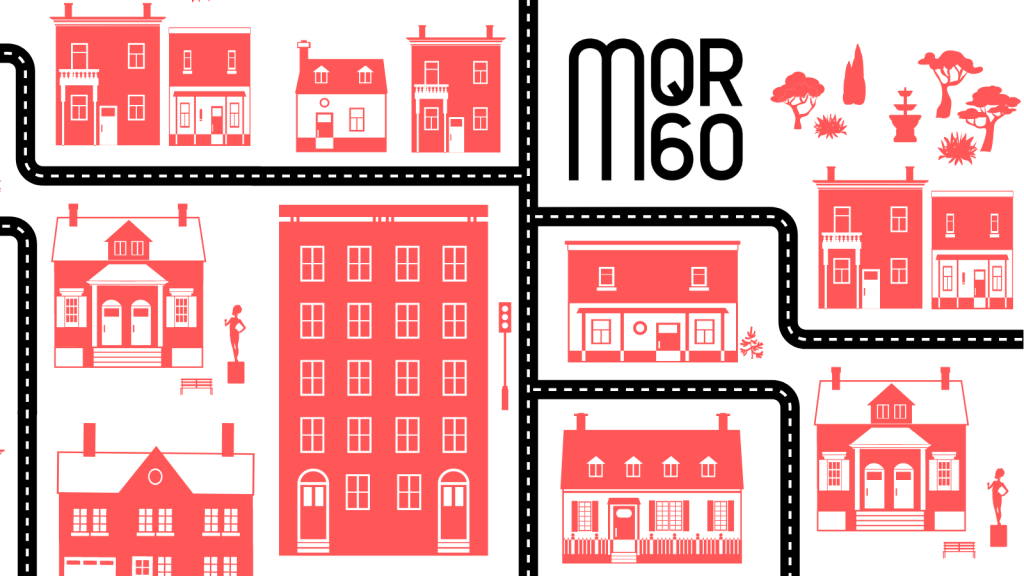 """Stock Image of Roads and Buildings for """"Celebrating Writers in Our Community"""" in Red"""