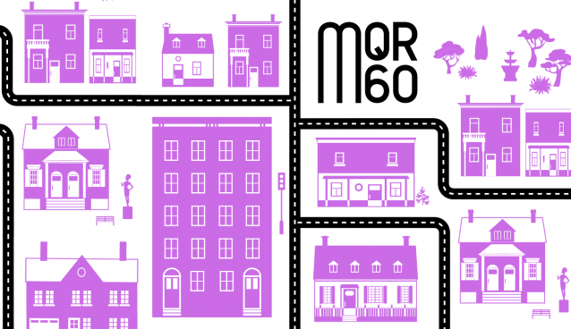 """Stock Image of Roads and Buildings for """"Celebrating Writers in Our Community"""" in Purple"""