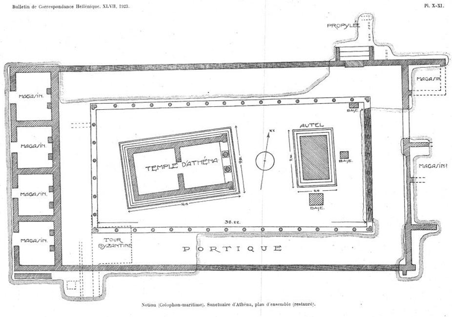 Demangel ve Laumonier'in Athena Tapınağı ve çevresindeki yapılara ait planı