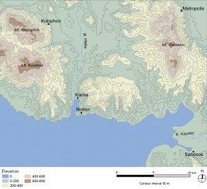 Notion etrafındaki bölgenin haritası